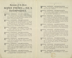 Advert for Roper Freres & Cie's champagne, reverse side